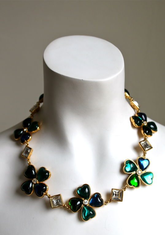 YVES SAINT LAURENT poured glass floral hearts necklace image 2