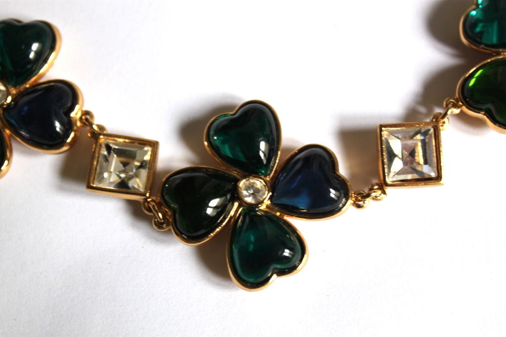 YVES SAINT LAURENT poured glass floral hearts necklace 3