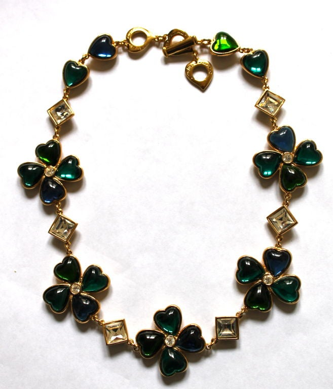 YVES SAINT LAURENT poured glass floral hearts necklace 6