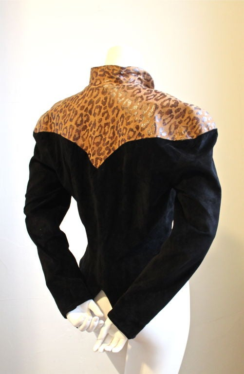 THIERRY MUGLER black suede sculpted jacket with leopard 2