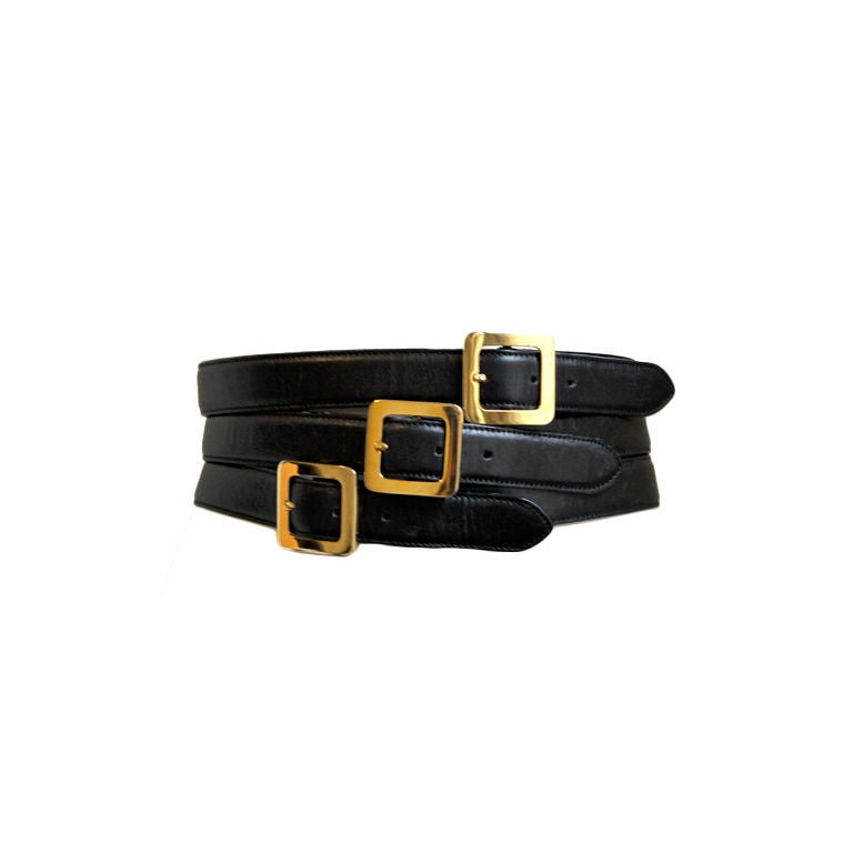 HENRI BENDEL Italian black leather belt with multipe buckles 1