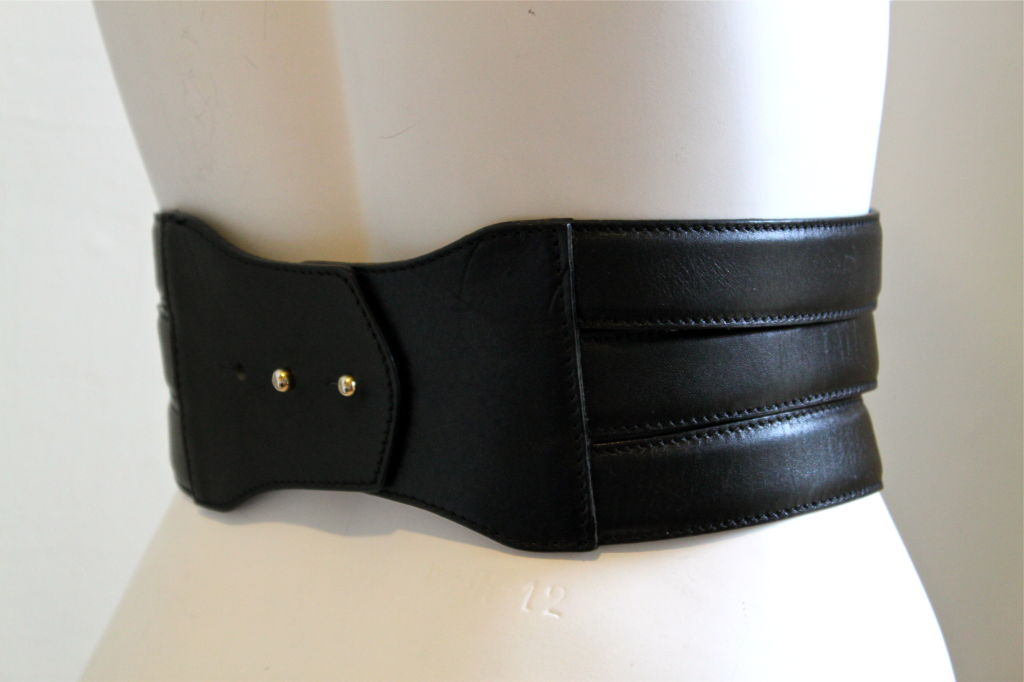 HENRI BENDEL Italian black leather belt with multipe buckles 2
