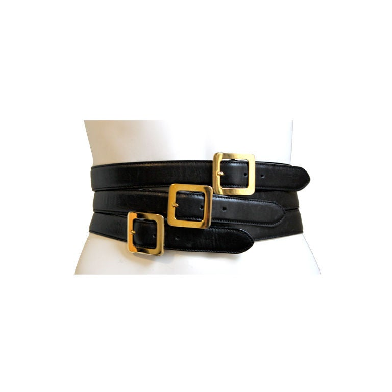 HENRI BENDEL Italian black leather belt with multipe buckles 3