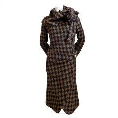 SONIA RYKIEL wool houndstooth draped coat