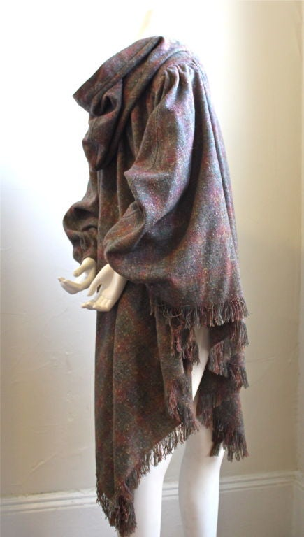 MISSONI plaid wool hooded cape with fringed hemline at 1stdibs
