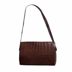 very rare 1980's AZZEDINE ALAIA brown Alligator messenger bag