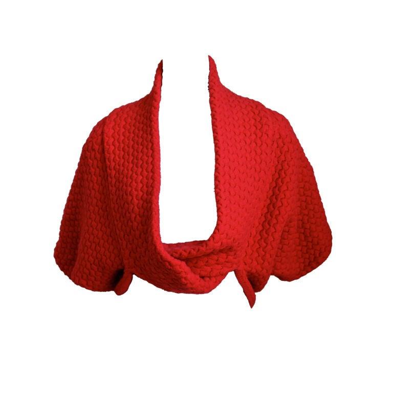 AZZEDINE ALAIA red basket weave shrug 1