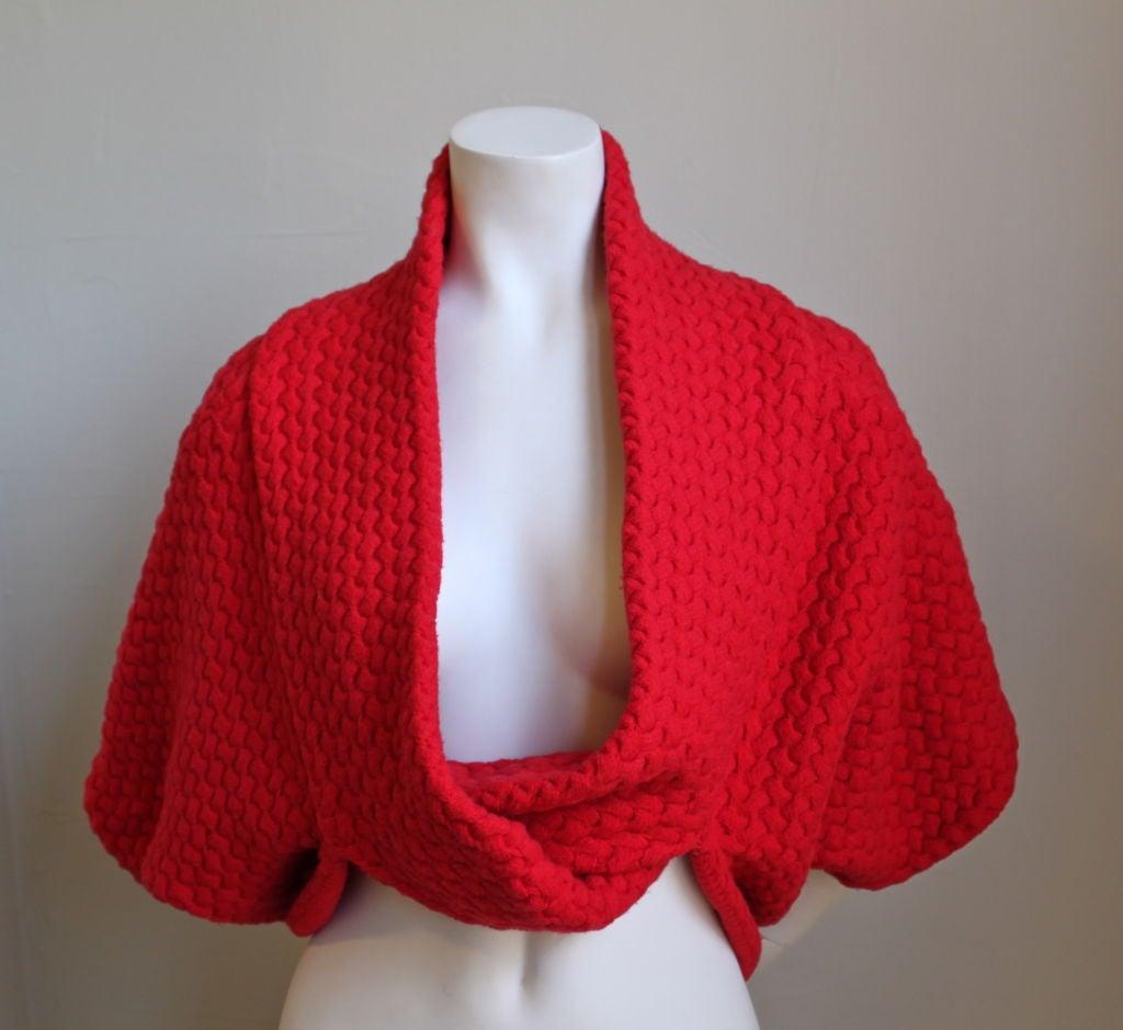 AZZEDINE ALAIA red basket weave shrug 2