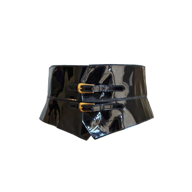 YVES SAINT LAURENT black patent leather corset belt 1