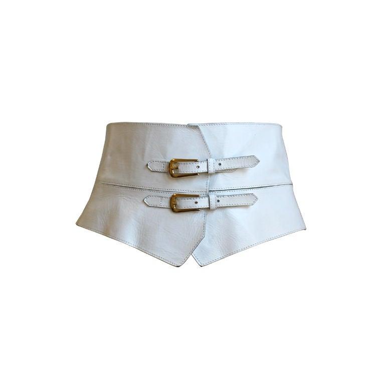 Unworn Yves Saint Laurent White Leather Corset Belt At 1stdibs