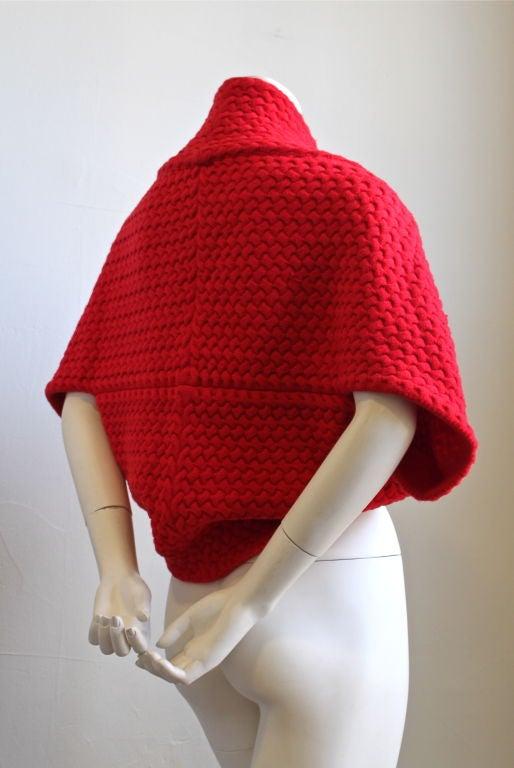AZZEDINE ALAIA red basket weave shrug 3