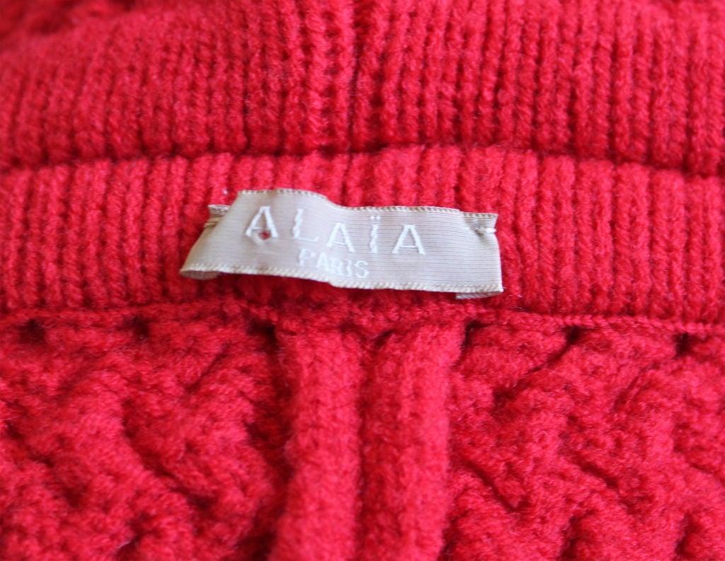 AZZEDINE ALAIA red basket weave shrug 4