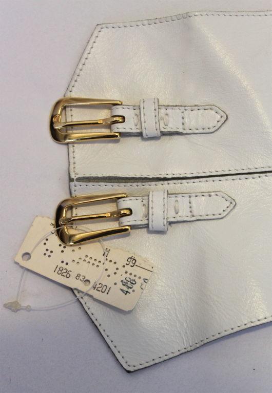 unworn YVES SAINT LAURENT white leather corset belt 2