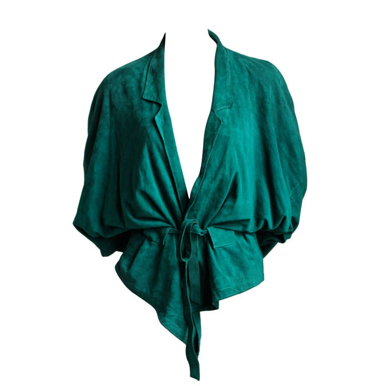 1980's JEAN-CLAUDE JITROIS emerald green draped suede jacket For Sale