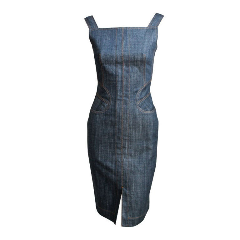 AZZEDINE ALAIA denim dress with corset lacing For Sale
