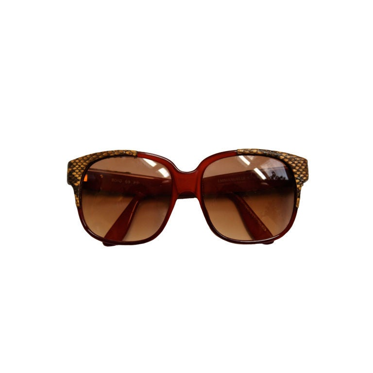 Handmade Sunglasses  handmade emmanuelle khanh burgundy sunglasses with snakeskin at