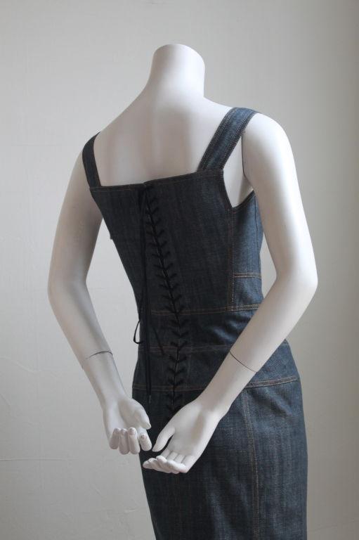 AZZEDINE ALAIA denim dress with corset lacing 2