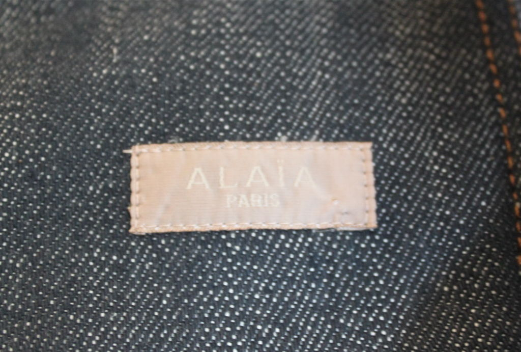 AZZEDINE ALAIA denim dress with corset lacing In Excellent Condition For Sale In San Fransisco, CA