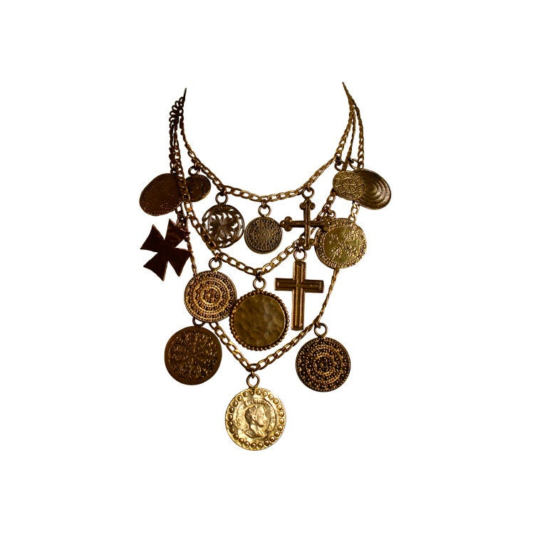 YVES SAINT LAURENT gilt coins and crosses necklace For Sale