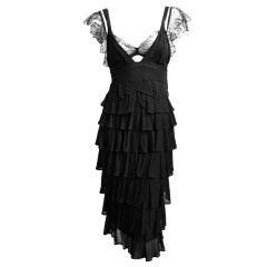 TOM FORD for YVES SAINT LAURENT 2003 black tiered dress