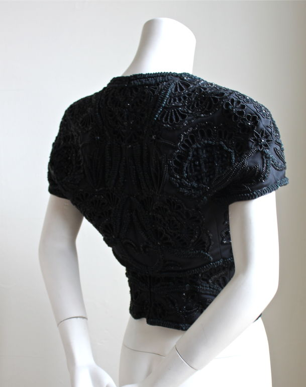 *SALE* GENNY by Gianni Versace black heavily beaded bustier and bolero 3