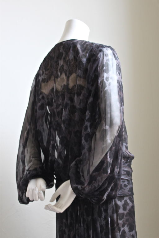 Black 1970's YVES SAINT LAURENT haute couture silk dress was   For Sale