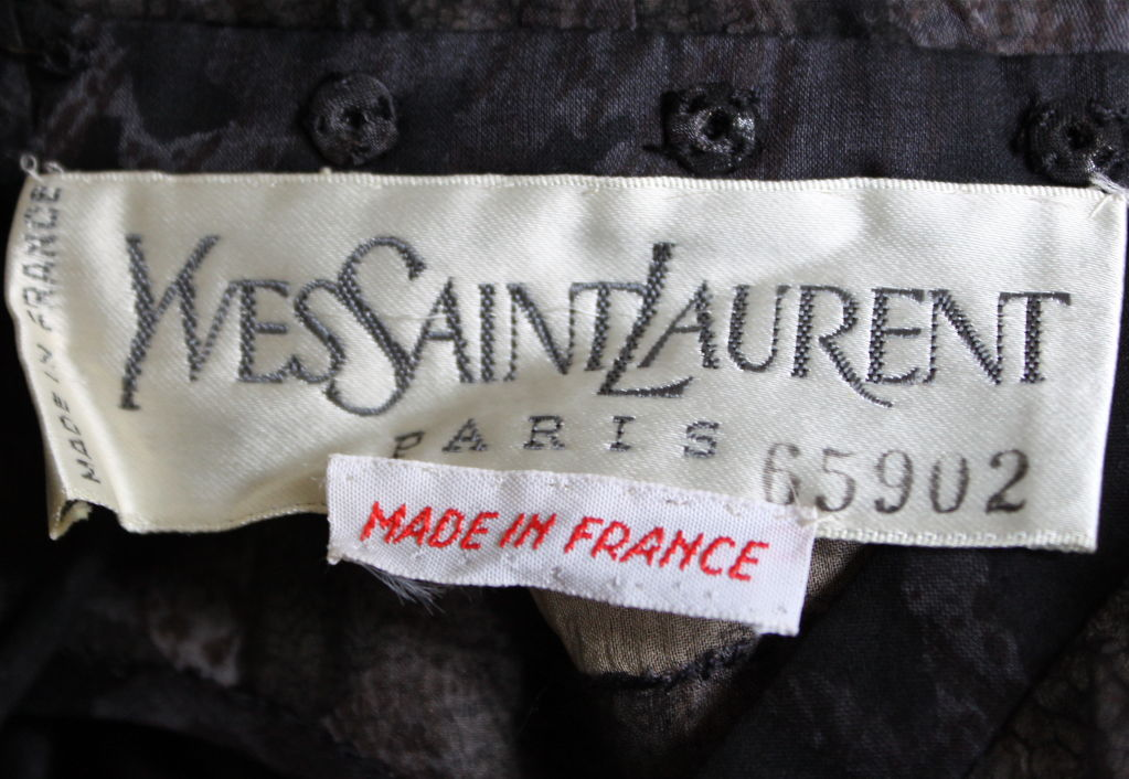 1970's YVES SAINT LAURENT haute couture silk dress was   In Excellent Condition For Sale In San Francisco, CA