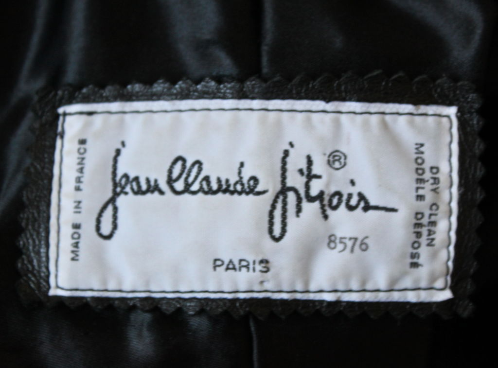 Black JEAN CLAUDE JITROIS black leather 'peacock feather' jacket For Sale