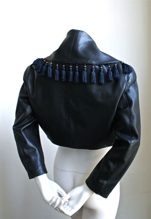 GIANNI VERSACE black leather jacket with tassels 2