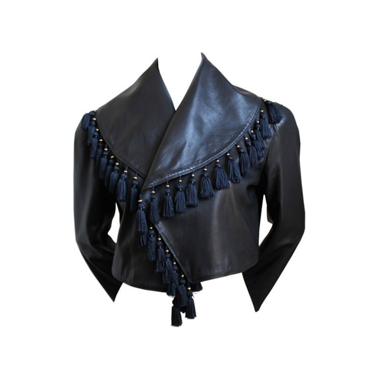 GIANNI VERSACE black leather jacket with tassels 1