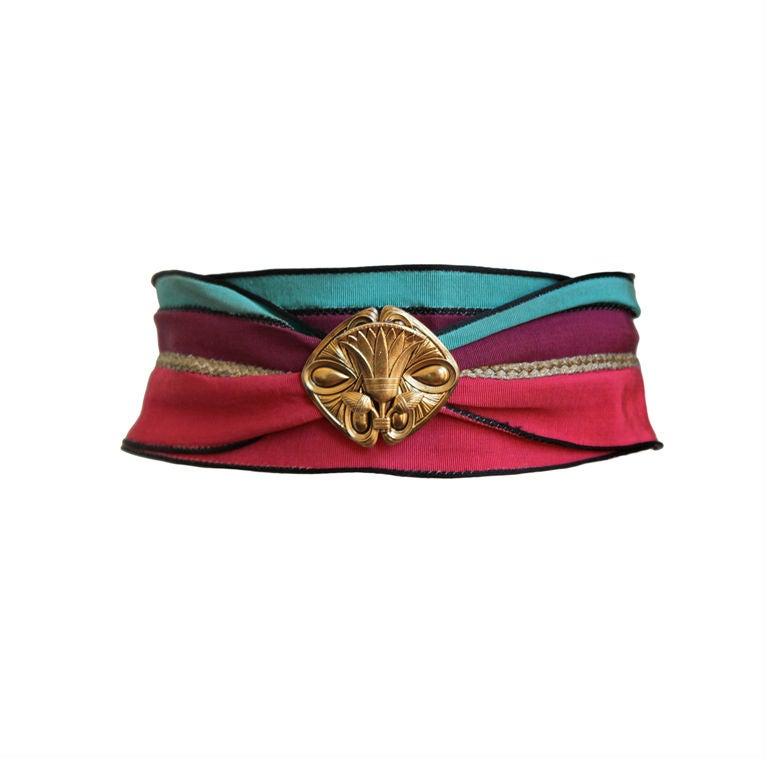 1970's EMANUEL UNGARO belt with gilt art nouveau buckle 1
