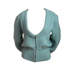 early AZZEDINE ALAIA turquoise sweater jacket