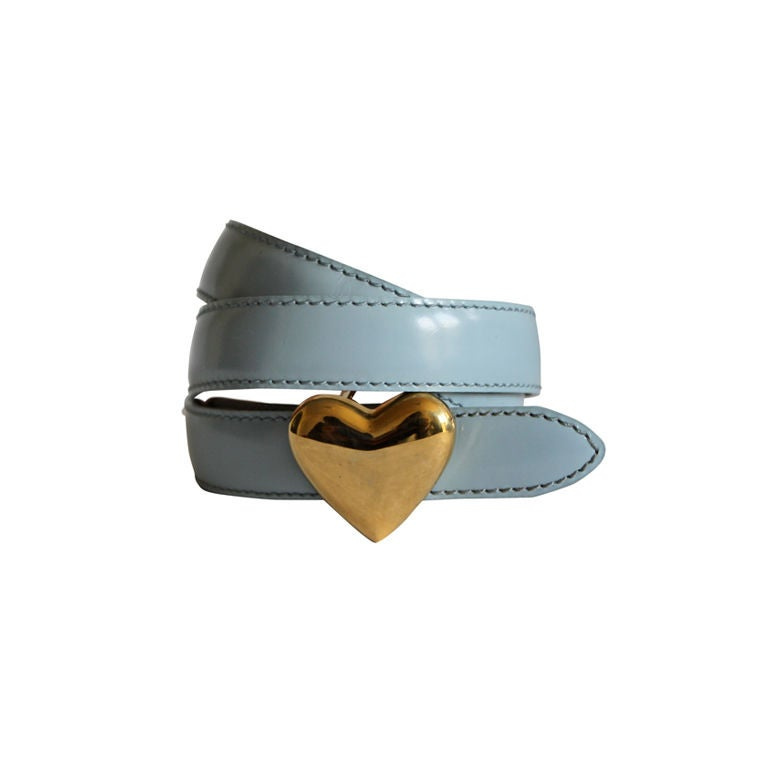 moschino blue patent leather belt with gold buckle