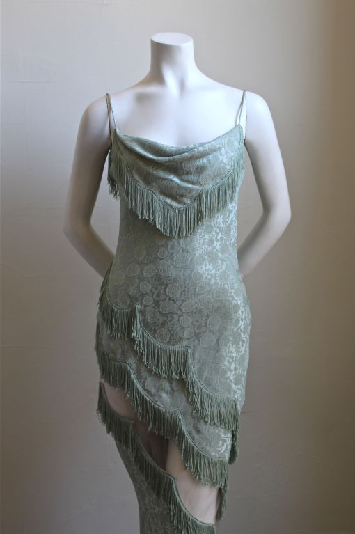 1990's CHRISTIAN DIOR mint floral brocade dress with fringe 2