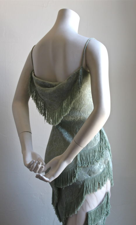 1990's CHRISTIAN DIOR mint floral brocade dress with fringe 3