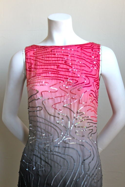 Vivid ombré dyed lightweight silk dress with sequins from Halston dating to the early 1980's. Fits a US 2 or 4. Zips up center back. Made in U.S. Very good/excellent condition.