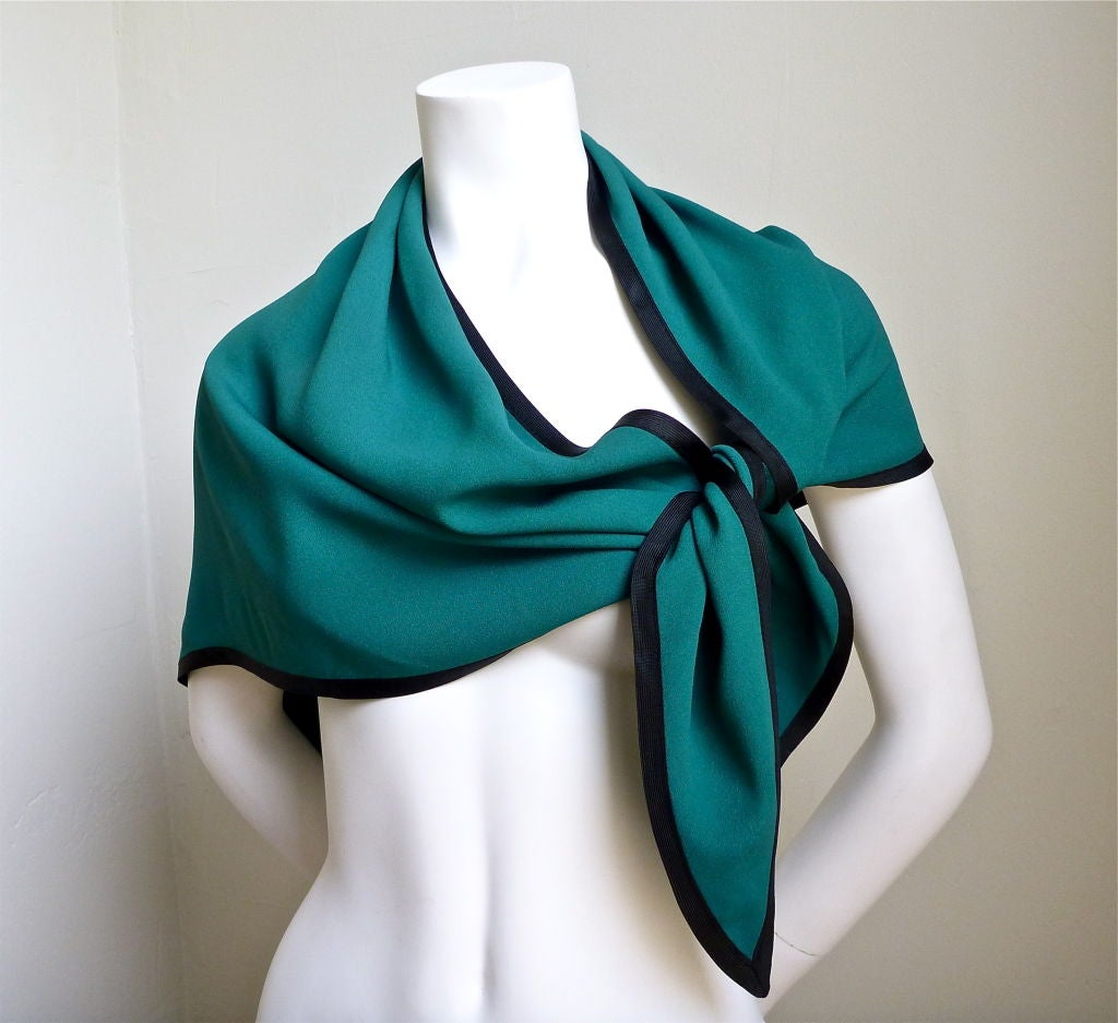 YVES SAINT LAURENT teal wrap with black trim 4