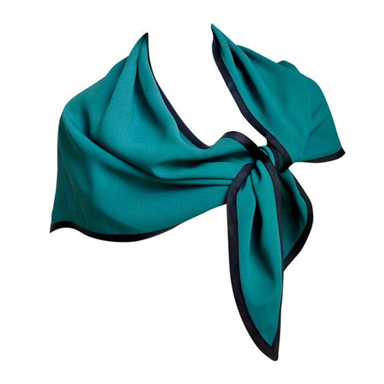 YVES SAINT LAURENT teal wrap with black trim 1