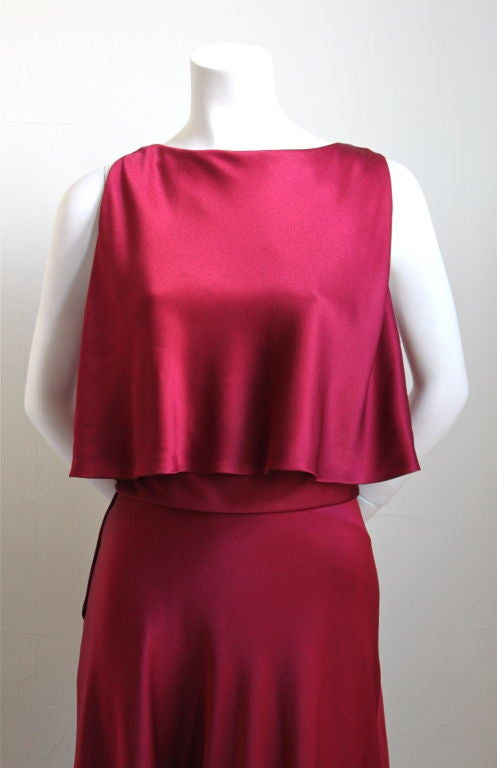 1960's LUIZ ESTEVEZ cranberry silk satin layered dress 2