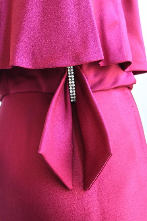 1960's LUIZ ESTEVEZ cranberry silk satin layered dress 3