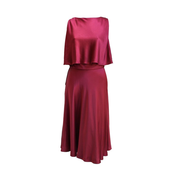 1960's LUIZ ESTEVEZ cranberry silk satin layered dress 1