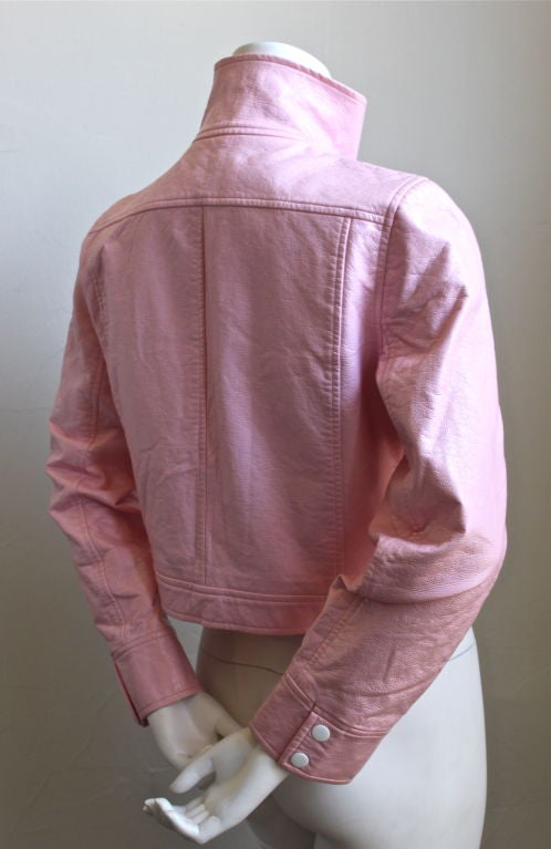 COURREGES pink vinyl jacket at 1stdibs