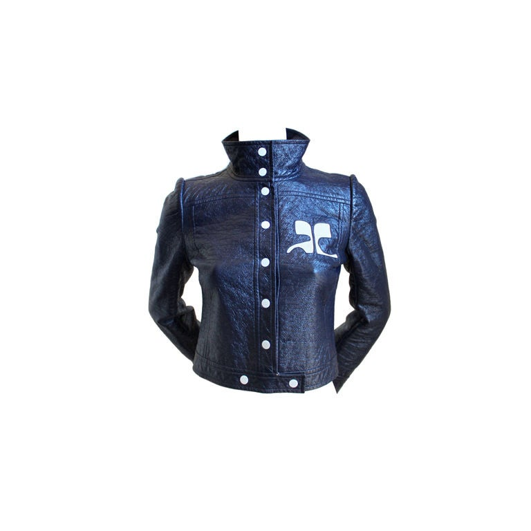 1960 39 s courreges haute couture navy blue vinyl jacket at for Haute couture jacket