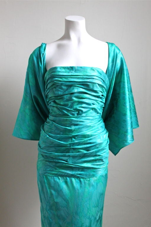 Jean Louis Scherrer Boutique Numbered Silk Ruched Gown For