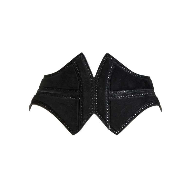 unworn AZZEDINE ALAIA black suede corset belt 1