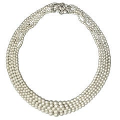 Impeccable 5 Strand Natural Pearl Necklace
