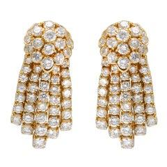 FRED PARIS  DIAMOND gold FRINGE EARCLIPS