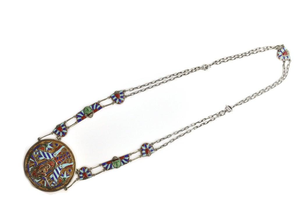 1970's  GUCCI  Enamel Silver 30 ''  Chain and Pendant 2