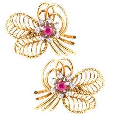 MARCHAK Paris Ruby and Diamond Earclips