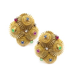 Marshak Paris Ruby Sapphire Emerald Diamond Gold Japanese Parasol Earclips